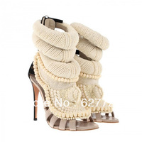 Free Shipping 2014 Summer New Arrive Necklace High Heel Sandals,handmade high quality women sandals,plus size sandals