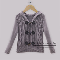 2014 New Year Baby Girl Winter  Sweater Dark Gray Cotton Cardigan Sweater With Cap And Flower Pattern Infant Sweater In stock