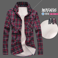 Winter thick lamb wool flannel men's warm up shirt double pocket men's plaid long-sleeved shirt free shipping