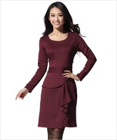 Dresses new fashion 2013 Autumn O-Neck Fashion Plus size Long Sleeve dress M,L,XL,XXL Three Colors Black Red Purpel