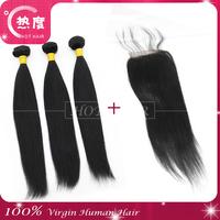 5A virgin brazilian  virgin hair 3pcs lot bundles with closure hair weave bundles human hair extension