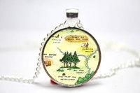 10pcs/lot Hundred Acre Wood Map 'Bear's House, Kanga's House & Rabbit's House' Necklace Glass Cabochon Necklace