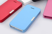 Stylish Style Thin Leather Magnetic Design Hard Cover Flip Case For iPhone 4G 4S Phone Shell Free Shipping