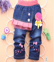 free shipping 2013 new cartoon Hello Kitty girl jeans Trousers children jeans children's pants wholesale girl pants 1lot=4pcs