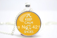 10pcs/lot Keep Calm and Buy Shoes Necklace Glass Cabochon Necklace