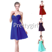 PY03543 elegant strapless brides maid flowers short royal blue ruffles chiffon 2013 new arrival party junior bridesmaid dress