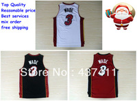 Free Shipping Miami #3 Wade white red black   REV 30 Authentics Brand Basketball jersey Embroidered  logos