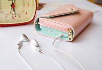 Pink Colour Upgraded Version Multifunctional Envelope Phone Wallet Purse With Wristlet,PU Leather Zip Wallet