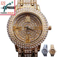 Free shipping New 2013 fashion women wrist quartz crystal Dress Watch Metal Band Japan rhinestones female Girl intimates gifts
