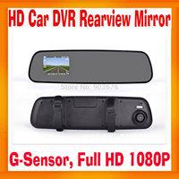 "Freeshipping Car DVR Rearview mirror 2.7""Display Camcorder Full HD1080P Video Super Slim Design G-Sensor"