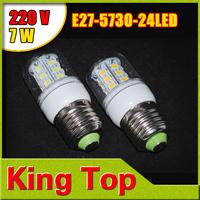 E27 led Lamps 5730 SMD  220V 7W 24Leds Light Spotlight Corn Bulb Energy Saving Candle crystal chandelier Lighting 10PCS/LOT