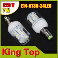 E14  5730  220V Led Light Spotlight  7W SMD 24 LEDs Corn Bulb Lamp Candle Crystal Chandelier Lighting 5PCS/LOT