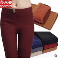 2013New Fashion Women Winter Leggings With Warm Lining ,black, brown ,dark red Pant ,Slim look pants for ladies,M,L,XL