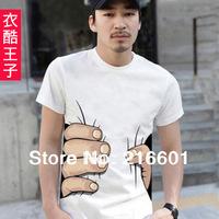 Hot sale men's T shirt creative big hand printed 3D vision cotton t shirt personality top tees 3 colors S-XL
