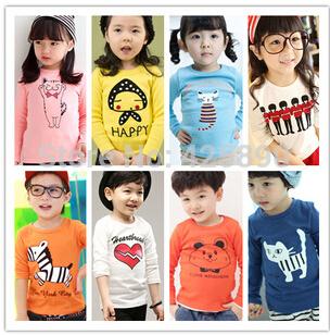 FreeShipping  2015 Retail Kids Tops Cartoon Long Sleeves T shirt Children Boys Girls t shirt /Child Tops Tee/Children's T-Shirts