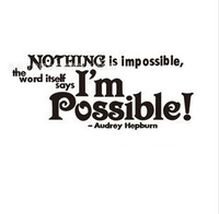 New Audrey Hepburn English Quote/Vinyl Wall Decals 30*67cm Nothing is impossible Wallpaper Wall Sticker home decor H8022