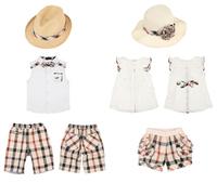 New 2014 Fashion Brand Kids Boys, Girls Clothing Sets Children 3pcs Suit Straw hat + Shirts + Plaid Shorts Summer Suits