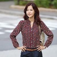 2014 New Fashion Summer Women Chiffon Shirt Casual Flower Printing Blouses Free Shipping