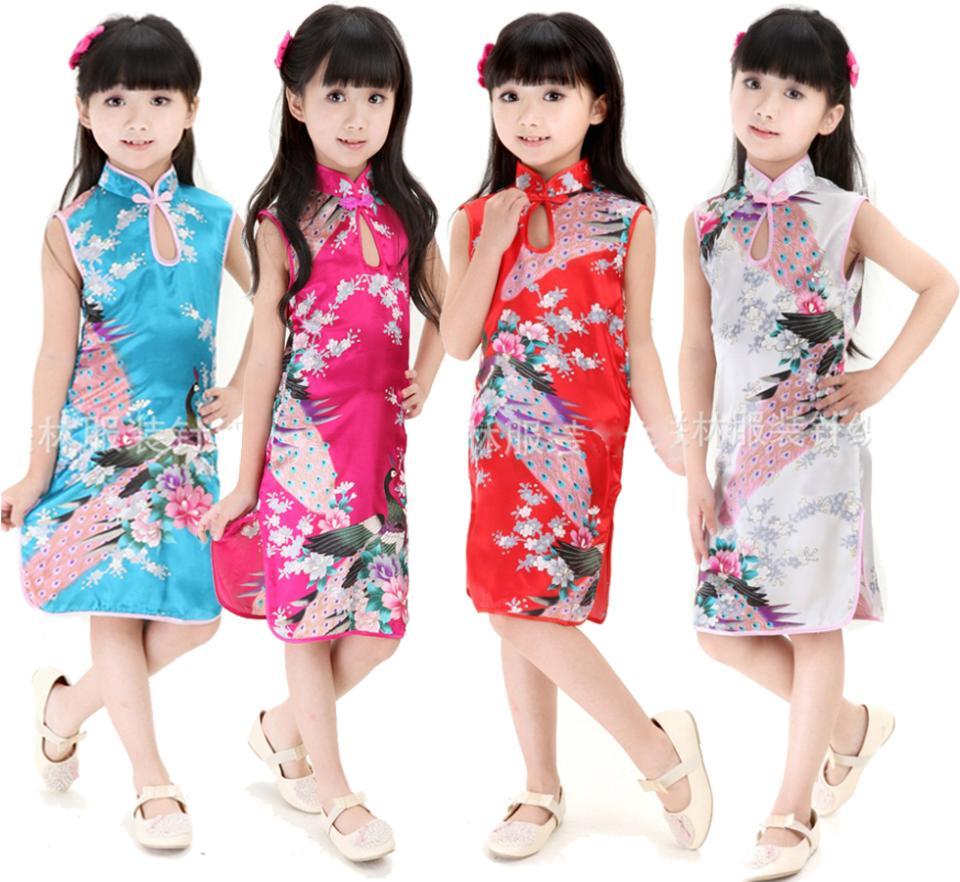 Retro Chinese Kid Child Girl Baby Peacock Cheongsam Dress Qipao style girl's Clothes free shipping(China (Mainland))