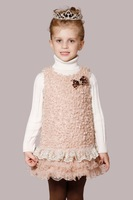 2014 new arrival autumn winter elegant fur tulle child dress children princess dress with big bow knots high quality brand dress