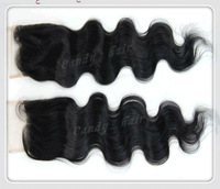 "Free Shipping!!!Cheapest 100% Remy Indian virgin Human hair,lace top closure,Free parting,lace size 4""*4"" Body Wave"