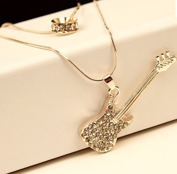 Free Shipping Silver Guitar Violin CZ Cubic Zirconia Double Chains kpop Long Necklaces Pendants 2014 New Fashion Women Jewelry(China (Mainland))