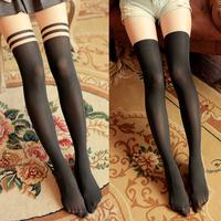 Free Shipping Wholesale Women Boots Knee Harajuku Autumn Pantyhose Sexy Nylon Stockings Black Striped Tights Patchwork