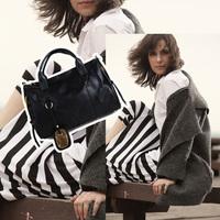 Women's Black PU Leather Shoulder Bag Handbag Purse Rivet Bag Stachel tote bags Hot Sale
