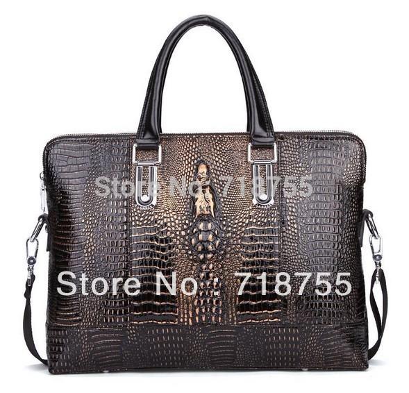 Leather new arrival crocodile pattern man bag fashion personality bag Shoulder Bags cross-body handbag briefcase Free shipping(China (Mainland))