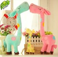 3 pieces Kawaii Christmas Gifts Stuffed Plush Giraffe Animals Deer Kids Toys Giraffe Plush Happy Family Wholesale Free Shipping