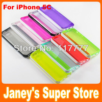 Fashion Translucent Jelly TPU Case for iphone 5C with PC Edge 100 pcs/lot DHL Free Shipping