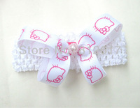 """Hello Kitty  gift mix colors 8cm 3-3.5"""" Butterfly bow Baby children Hairbands Girls ribbon Headband Infant Knitting Hair Weave"""