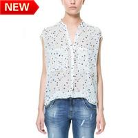 new 2013 flower printed brand blouses innovative items tops blouse shirt color pockets Dot shirt bk629
