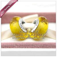 2pcs S925 sterling silver Lemon  Fascinating Faceted Glass Charm Beads Fits dora Charm Bracelets necklaces & pendants ZS226
