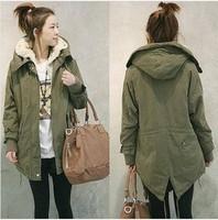 Women Thicken Fleece Warm Winter Coat Zip Up Hooded Parka Long Jacket Overcoat