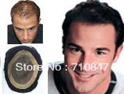100% good human hair fine mono stock  men toupee free shipping