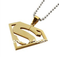 18K gold superman pendant necklace for men and women stainless steel superman pendant