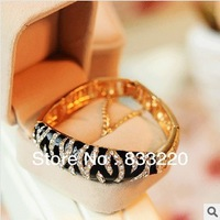 Bracelets & Bangles  Leopard folding encrusted bracelet with black and white drill supernova sale new 2013 christmas