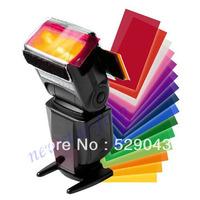 12pcs Flash Diffuser Lighting Gel Color card correct Pop up Filter for flashgun Canon Nikon Sony Metz Yongnuo Sigma Nissin Flash