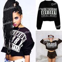 Sweatshirts 2015 New Fashion Hot Tops Women Clothing Casual Black Round Neck ADVISORY Printed Crop Pullover Loose Sweatshirt
