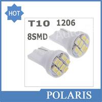 100pcs/lot Wholesale white 1206/3020 smd T10 8 smd 8smd 8led led 194 168 192 W5W super bright Auto led car lighting wedge