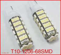 2pcs/lot 168 192 W5W T10 DC12V White T10 68LED 68smd 1206 68 SMD LED Car Auto Bulbs LED Signal Lights white super bright