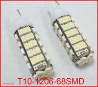 2pcs/lot 168 192 W5W T10 DC12V White T10 68LED 68smd 1206 68 SMD LED Car Auto Bulbs LED Signal Lights white super bright