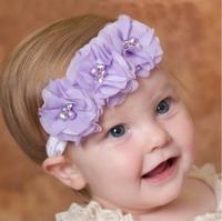 25 colors baby Chiffon flowers Headband Trail Order three Rows headbands for girls Silk flower with pearls and Rhinestone 24PCS