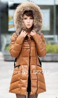 FREE SHIPPING BRAND 2013 winter extra thick large fur collar down coat white duck women's medium-long down jacket outerwear