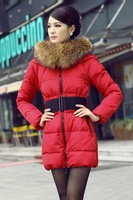 2013 New Arrival Women's Winter Jacket Fashion Luxury Large Fur Collar Slim Medium-long Thickening Female Down Coat
