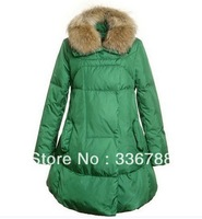 2013 Winter Women Big Size Fur Collar Skirt-hem Long Down Jacket