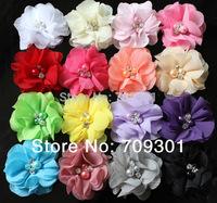 "Free shipping  200pcs/lot, wholesale 2"" cheap Chiffon Flower w/rhinestone pearl center for girls baby flower headband, 16 colors"