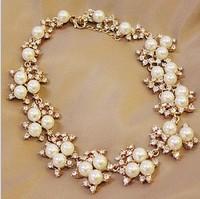SP319 luxury bright golden diamond imitation pearl necklace female short paragraph bride wedding necklace fashion women jewelry