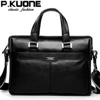 P . kuone man commercial male handbag genuine leather shoulder men's casual bag leather briefcasev E60